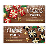 Invitation merry christmas party poster banner and greeting card design template on wooden background. Happy holiday and new year with gift box theme concept.