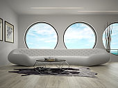 Interior of modern design room with sea view 3D rendering