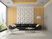 Interior of modern design room with black couch 3D rendering