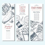 Fast food vertical banner set.