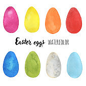 Set made of hand-drawn watercolor easter eggs