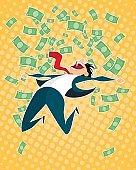 Lucky businessman jumping