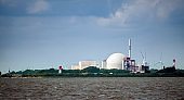Nuclear power plant at Brockdorf, Schleswig-Holstein in northern Germany, view from the river Elbe, copy space