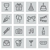 Vector black line party icons set