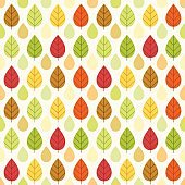 Primitive retro seamless pattern with autumn leaves