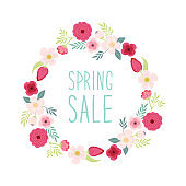 Cute rustic hand drawn Easter wreath of spring flowers with hand written text Spring Sale