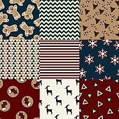 Set of retro seamless backgrounds with traditional symbols: reindeer, bars, toe, holly, candy cane, snowflakes and suitable abstract patterns. Vector collection.