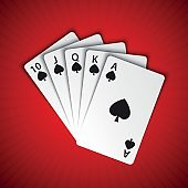 A royal flush of spades on red background, winning hands of poker cards, casino playing cards