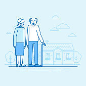 Vector flat linear illustration in blue colors - happy grandparents