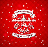 red new year party sign