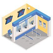 Currency exchange office in isometric style design. Vector flat 3d finance and money isolated icons and elements. Currency exchange booth interior