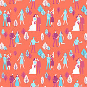 Vector seamless pattern in flat linear style - happy people at wedding party
