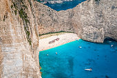 Cove with Shipwreck in Zakynthos Island Greece