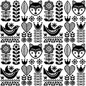 Scandinavian seamless folk art pattern - black Finnish design, Nordic style