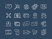 Communication. Social media. Online chatting. Phone call, app messenger. Mobile,smartphone. Computing.Email. Thin line blue web icon set. Outline icons collection. Vector illustration