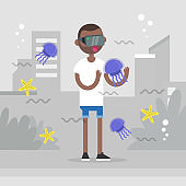 Augmented reality conceptual illustration. Young character wearing vr headset and walking around the city surrounded by the augmented reality images of marine life. Flat editable vector illustration