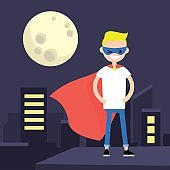 Superhero conceptual illustration. Young character wearing superhero cape and mask / flat editable vector illustration, clip art