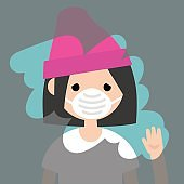 Young sad girl wiping a dirty window / flat editable vector illustration, clip art