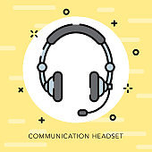 Headset Open Outline Communication Icon