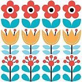 Scandinavian seamless pattern, Swedish folk art design, retro floral background