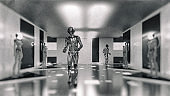 Cyborg walking in space ship