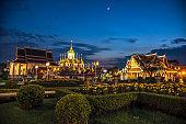 Wat Ratchanatdaram Thai architecture Temple in Bangkok, Loha Prasat and Traditional Thai pavilion, Bangkok, Thailand