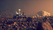 Mars Rover exploring on the planet surface