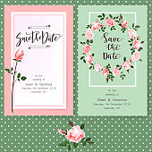 Save the date card, wedding invitation, greeting card with beautiful roses flowers and letters