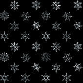 Stock Illustration - Seamless, Silver Snowflakes, 3D Illustration, Black Background.