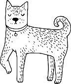 Cute Shiba Inu dog - vector hand drawn illustration. Kawaii japanese puppy sketch