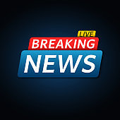 Breaking news live. Abstract red blue banner with white text. Dark blue background. Technology and business. Live on TV. Vector illustration