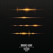 Abstract golden lights. Glowing neon lines. Sound vibrations and light flashes are isolated. Vector illustration