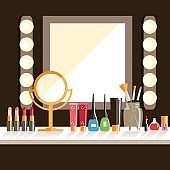 Vector flat Makeup worker's workplace. Mirror, decorative cosmet