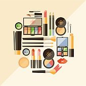 Vector flat cosmetics illustration. Beauty fashion products. Dec