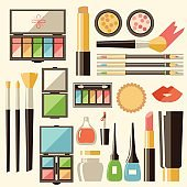 Vector flat cosmetics set. Beauty fashion products. Decorative c