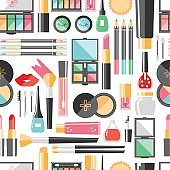 Vector flat cosmetics  seamless pattern. Beauty fashion product