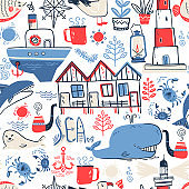 Vector doodle illustration. North sea. Scandinavian style. Seaml