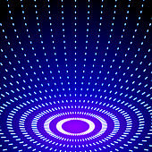Bright shiny neon lines background with short strokes circles