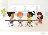 Smiling disabled girl sitting at table in school canteen and talking to her classmates. Children s friendship. Inclusive education concept. Vector illustration for banner, website, advertisement.