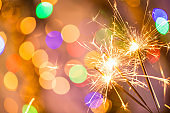 Colorful sparkler. Shallow focus
