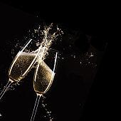 Glasses of champagne, celebration theme