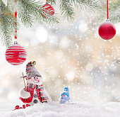 Christmas snowman on abstract background