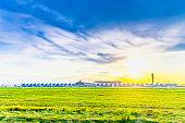 View sunset of Suvarnabhumi Airport Bangkok Thailand