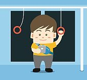 Young man is using smartphone on the metro train, cute flat character design vector illustration. Lifestyle in the city. Commuters in subway.