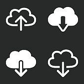 Cloud download - vector icon.
