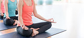 Attractive young Asian woman group exercising and sitting in yoga lotus position in yoga classes