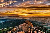 Bukhansan mountain in Seoul at Sunrise in the Morning in Bukhansan National Park, South Korea