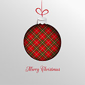 Merry Christmas holiday design, paper cut out Xmas tree toy decoration with red green checkered background for greeting card, banner, poster, invitation, paper cut out art style, vector
