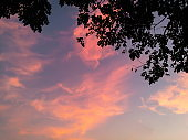 The sky changes colors in the evening.