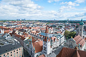 City scape from a tower in Munich, Germany